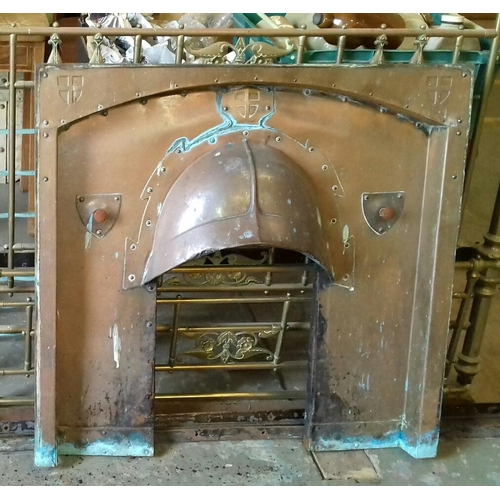 493 - 102 cm wide x 97 cm tall copper fire insert in medieval style...