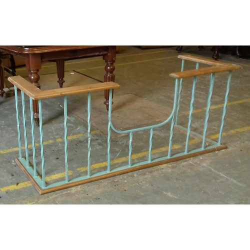 450 - 147 x 52.5 cm wood and metal fire fender front...