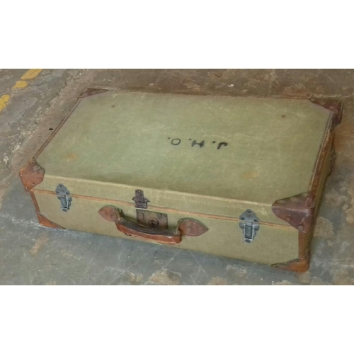 232 - 68 x 40 cm vintage suitcase with leather corners and monogrammed J.H.O....