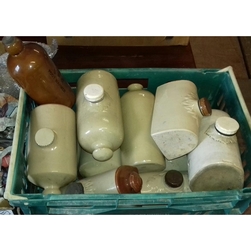 300 - Box of assorted earthenware water bottles...