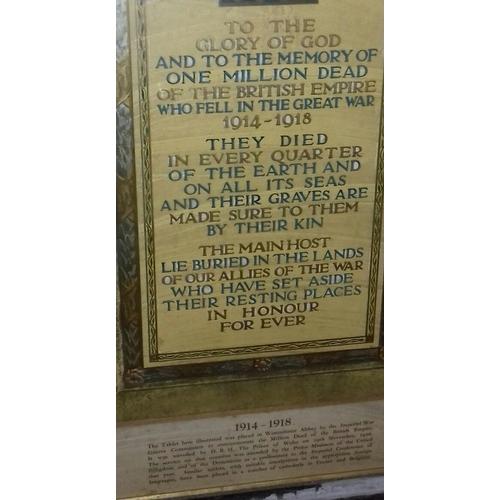 353 - 113 x 70 cm World War 1 memorial plaque reproduction...