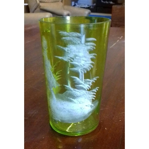 29 - Nice Victorian drinking glass with etched pattern...