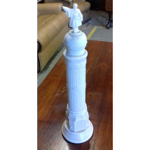 32 - Rare vintage white glass J.Selga Torras 46 cm tall column shaped milk glass decanter with Christophe...