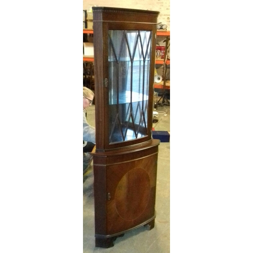 441 - 65 cm wide and 46 cm deep twin glass shelf corner display cabinet with light...