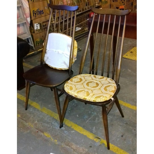446 - Pair of Ercol stick back chairs with cushions...