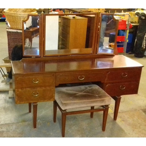 525 - G Plan E.Gomme 5 drawer dressing table with stool...