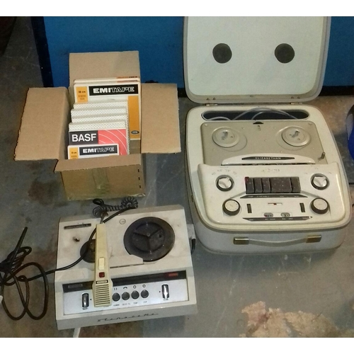 451 - Elizabethan model LZ 29 real to reel, Grundig Stenorette lLreel-to-reel & box of assorted spools...
