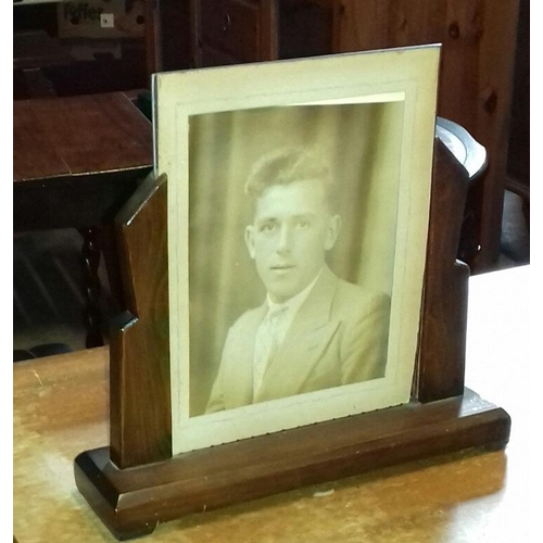 79 - Approx 30 x 8 cm base oak art deco picture frame with old photograph...