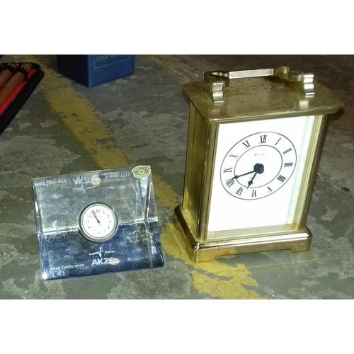 199 - Alama quartz & Val S'Lambert (Brussels 1990 Akzo conference) crystal clock...