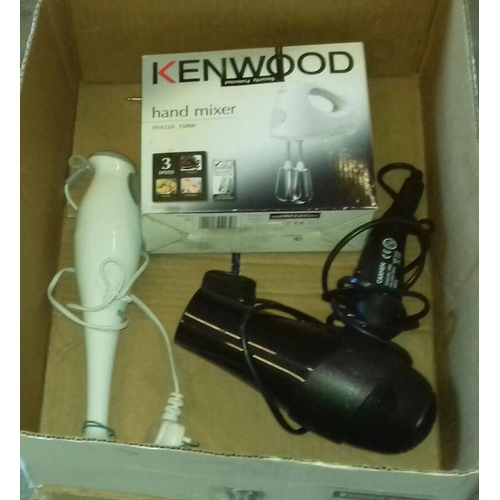 406 - Boxed Kenwood hand mixer, Currys Essentials blender and Carmen hairdryer...