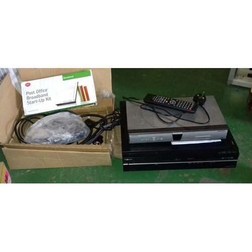 421A - Toshiba 250 gb digital video recorder with remote and manual, Amstrad digibox and boxed broadband ki...
