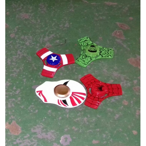 69 - Bundle of four Marvel fidget spinners being Spider-Man, punisher, the Hulk and Captain America...