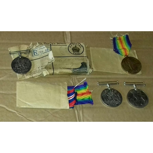 561 - Set of 4 x World War 1 medals and ribbons, two being engraved '268113 PTE. J.W.HUBBARD R.W.FUS.' in ...
