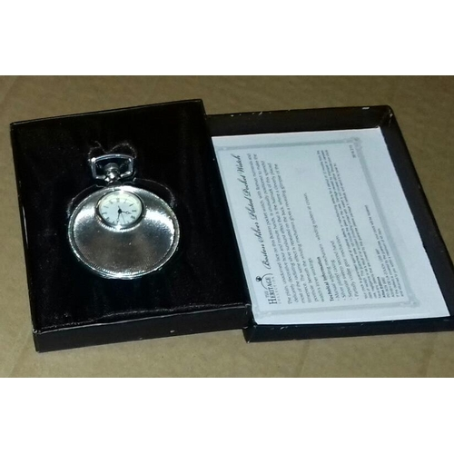 534 - Boxed heritage collection Boston silver-plated pocket watch with certificate of authenticity...