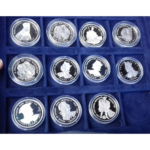 576 - Westminster kings and queens of Great Britain collection set of 35 assorted silver-proof coins all w...