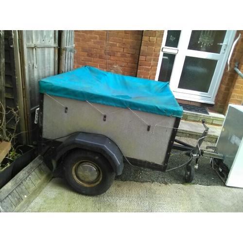 359 - 4 x 4 ft aluminium trailer with spare wheel, jockey wheel, light bar and cover...