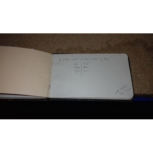 46 - Gold leaf autograph book dated 1940 with assorted signed and dated verses...