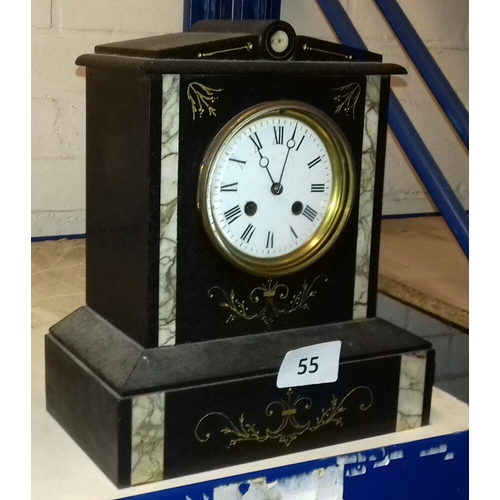 55 - 25 x 14 x 29 cm granite with inlaid marble decor Victorian mantle clock, very nice condition but no ...