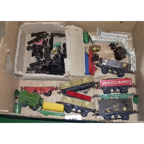 185 - Box of assorted vintage play worn Hornby Meccano tinplate