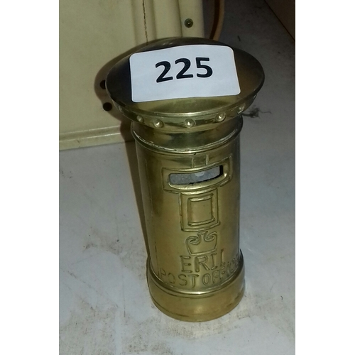 225 - 16 cm tall brass twist lid letter box shaped money bank...