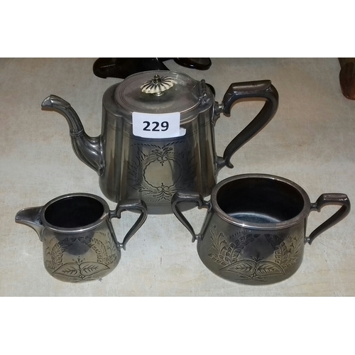 229 - Thomas Wilkinson Sheffield Victorian silver-plated 3 piece tea service...