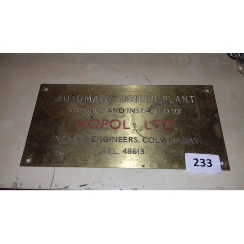 233 - 30 x 15 cm brass name plate, automatic boiler plant supplied and installed by Hopol Ltd heating engi...