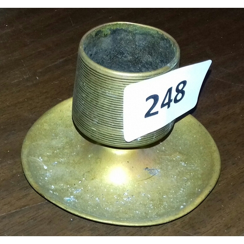 248 - Approx 8 cm tall brass goblet shaped vesta match striker with ashtray...