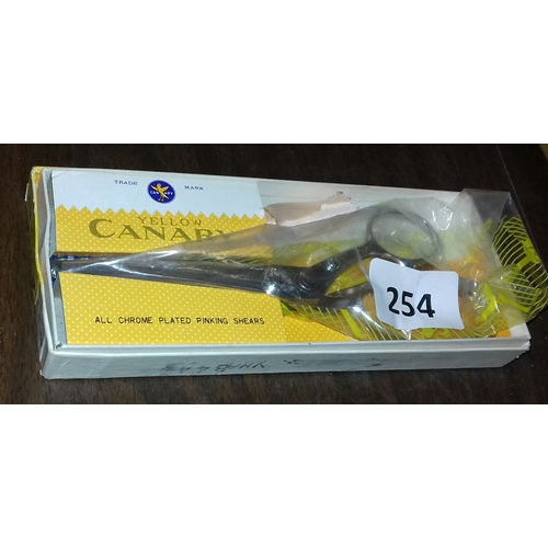 254 - Boxed and hardly used Yellow Canary chrome plated 8 inch pinking shears...