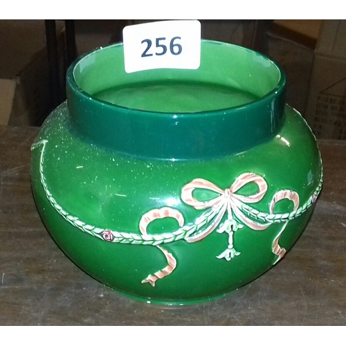 256 - Approx 14 cm tall Eichwald Germany green bulbous ceramic pot...
