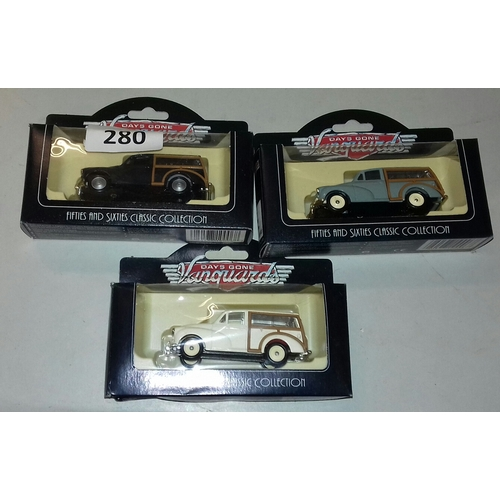 280 - Set of 3 x boxed Vanguards days gone 1960 Morris travellers in different colours, model numbers 6500...