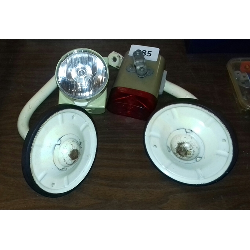 285 - Vintage bicycle bundle of ever ready front and back lights and set of stabilisers...