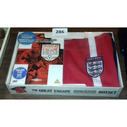 286 - The great escape World Cup limited edition box set of film DVD, Umbro England terrace shirt and 5ft ...