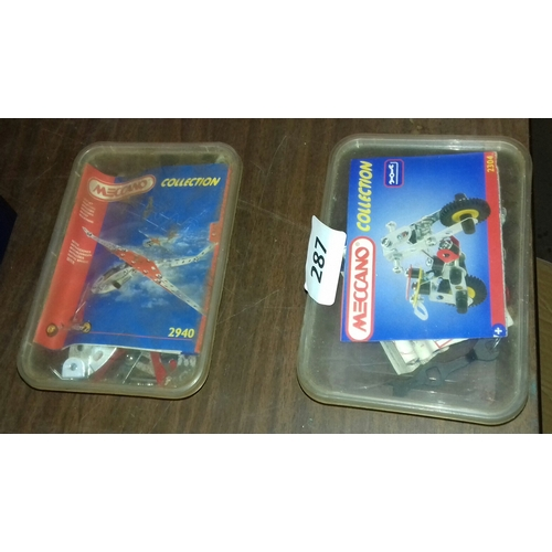 287 - 2 x Meccano collections in plastic tubs being 2304 and 2940...