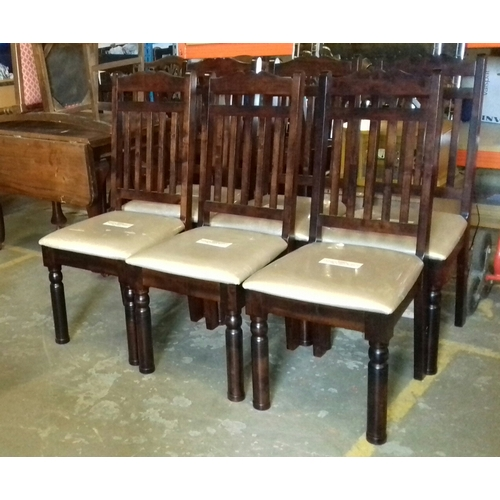 428 - As new extending dining table and 6 chairs, all with protective covers still on...