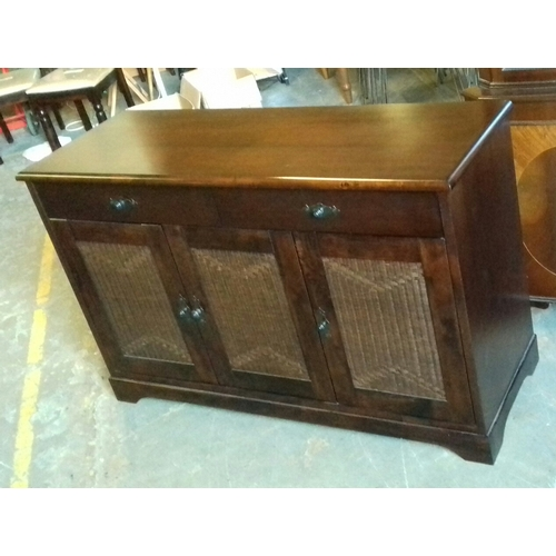 445 - 136 x 49 x 87 cm tall dark wood as new 2 drawer and 2 door sideboard with rattan effect front...