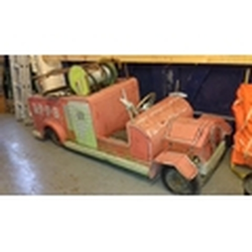 343 - 1950/60's 7 ft. long wooden fire engine (possibly fairground ride) with working steering in need of ...