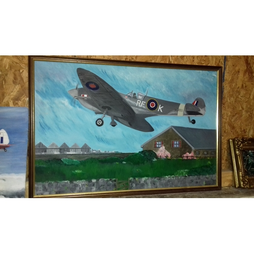 490 - 79 x 53 cm Framed acrylic on board amateur art painting of a Spitfire, signed but covered by frame, ...