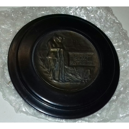 7 - 13 cm diameter framed bronze memorial/death plaque engraved 'Col. Robert Beech 2nd Scottish horse 19...