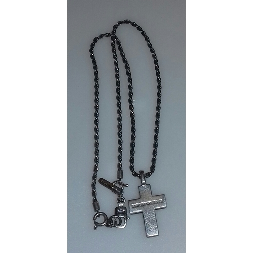 24 - Armani stamped silver/onyx cross on 17