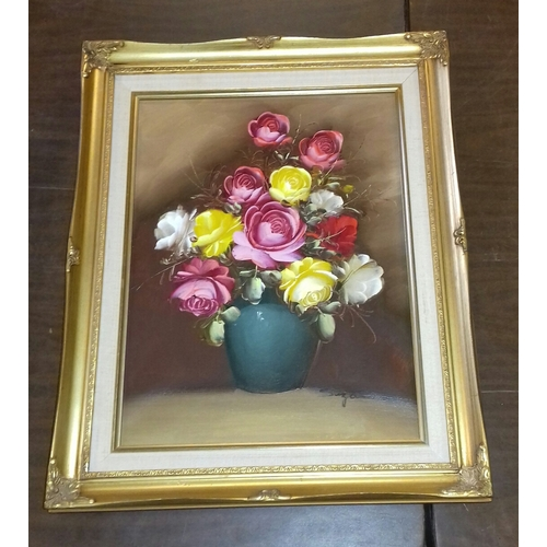 6 - 41.5 x 51.5 cm gilt framed and mounted oil on canvas still life bowl with flowers painting signed Su...