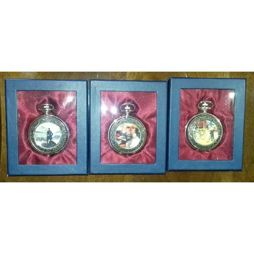 14 - Bundle of 3 x silver colour painted enamel look front quartz pocket watches...