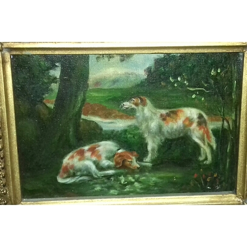 21 - Oil on canvas painting of 2 x dogs resting by tree in 28 x 23 cm ornate gilt frame. No visible signa...