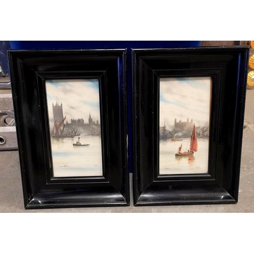 24 - Pair of water colour London scene paintings initialed G.M. (Garman Morris) in 30.5 x 21 cm ebonised ...