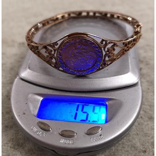 54 - 1982 half sovereign coin mounted in pierced gold bracelet , gross weight 15.9 gm...