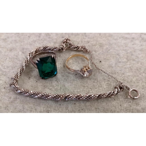 38 - 925 silver rope chain bracelet, silver stamped green stone ring size M & gilt on hallmarked silver c...