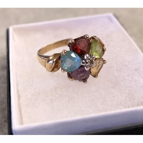 55 - 375 hallmarked 9 ct gold dress ring with multi colour cluster stones...