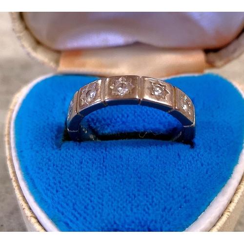 56 - Hallmarked 18 ct white gold half eternity ring set with 6 x 1/16 ct diamonds size M...