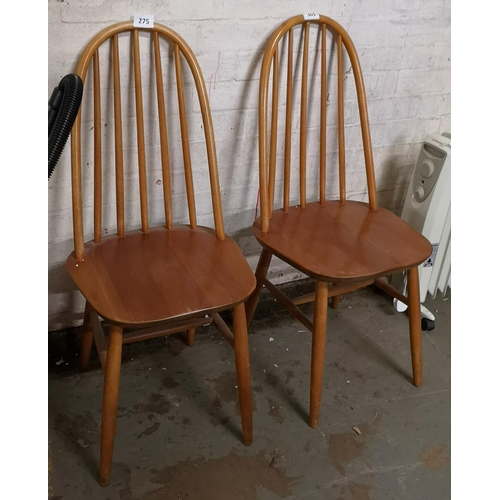 275 - Pair of light wood stick back dining chairs...