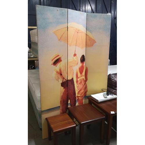 283 - Tri fold canvas room divide screen...