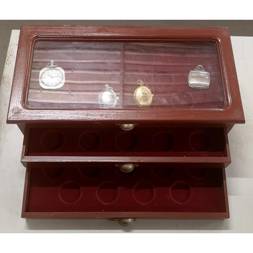 39 - 3 drawer coin display cabinet with 4 x pocket watches...